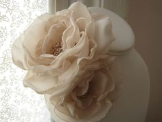 fabric flower brooch  double bloom corsage pin in by RiRiFisch, $45.00