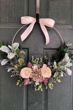 Spring wreath Spring wreaths for front door Summer wreath Door wreath Front door wreath Spring wreath Modern wreath Etsy Spring Front Door Wreaths, Diy Spring Wreath, Diy Wreath, Wreath Ideas, Tulle Wreath, Wreaths And Garlands, Mesh Wreaths, Easter Wreaths, Yarn Wreaths