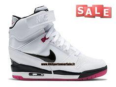 Nike Air Revolution Sky Hi GS - Chaussure Montante Nike Pas Cher Pour Femme Blanc/Rose framboise/Rose éclatant/Noir 599410-103
