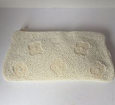 Elegant white and ivory beaded clutch by CallMeMadame on Etsy