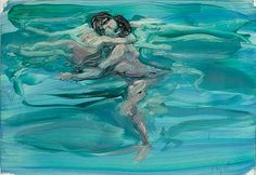 "Eric Fischl, ""Swimming Lovers,"" 1984. Oil on Chromecoat, 11 x 16 inches."