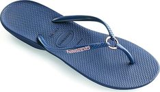Havaianas Women's Shoes in Navy Color. Whatever your fitness style you can count on the Ring Sandal to keep your feet comfy before and after workouts. Rubber straps with center ring for interest. Cushioned footbed with textured rice pattern. Rubber flip-flop outsole. Made in Brazil