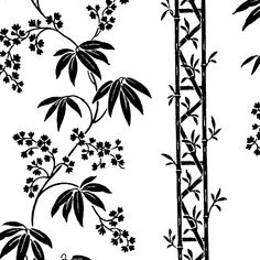 White and Black Bamboo Stripe Wallpaper Stripe Wallpaper, Black Bamboo, Black And White Design, Sewing, Floral, Dressmaking, Couture, Fabric Sewing, Florals