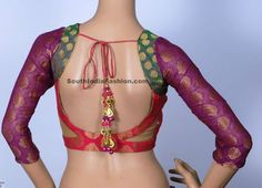 Multicolor Brocade Blouse ~ Celebrity Sarees, Designer Sarees, Bridal Sarees, Latest Blouse Designs 2014 South India Fashion