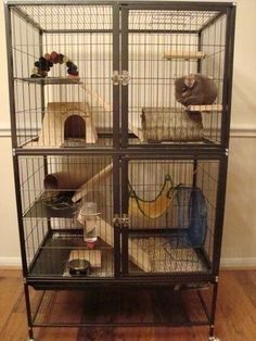 """Cage comes complete with ramps, shelves, and even a hammock to keep your fuzzy friend entertained and content. Featuring two large doors, you are able to easily access your pet while ferrets can't open these escape-proof"""" doors. 
