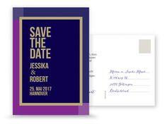Save the Date Karte Hochzeit Rahmen Lila & Gold