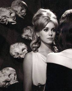 Deneuve. Surrounded by skulls. Le Vice et la Virtue. '63.