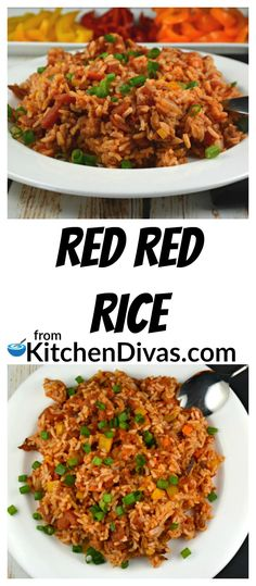 Red Red Rice is an easy side dish that we have been making for years. So different and a tasty change from traditional rice dishes with so many options! Veggie Recipes, Dinner Recipes, Cooking Recipes, Healthy Recipes, Vegetable Stew, Vegetable Side Dishes, Side Dishes Easy, Main Dishes, Rice Dishes