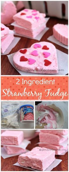 2 Ingredient Strawberry Fudge! Easy to make and so pretty! <3