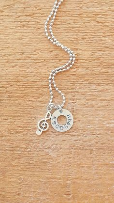 Treble Clef Music Musical Note STAMPED washer Custom by bleustuff1