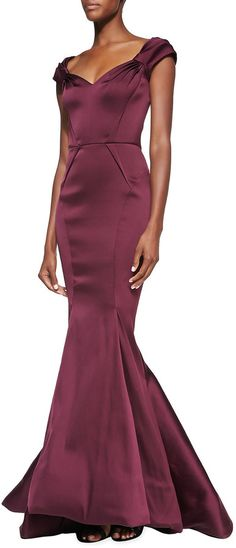 Zac Posen Sweetheart Pinched-Sleeve Mermaid Gown on shopstyle.com
