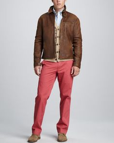 Leather Newsboy Jacket, Fair Isle Cardigan & Suffield Twill Pants by Polo Ralph Lauren at Neiman Marcus.