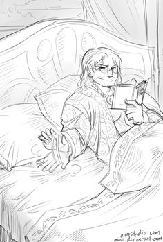 Varric offering to share his bed! ~Bedtime by Aimo on deviantART