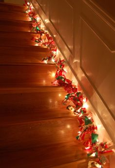 2 1/2 yards of fabric cut into 2x9 inch strips, 100 count string lights, tie 2 or 3 strips between each light