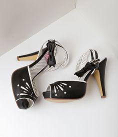 Vintage Style Shoes, Vintage Inspired Shoes Black White Leatherette Peep Toe Platform Sandal Heels $72.00 AT vintagedancer.com