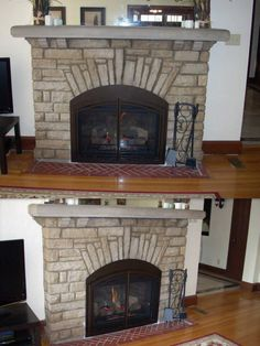 Custom arched insert into a beautiful cottage arched stone fireplace.