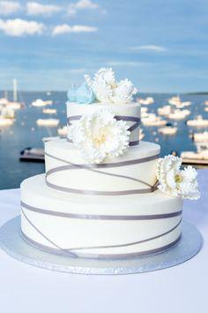 Wedding cake at Duxbury. A Dreamy Viking Love Story: Lauren and Erikk's Wedding at the Duxbury Bay Maritime School » Fucci's Photos of Boston–Something Blue Blog   Boston Wedding Photographer