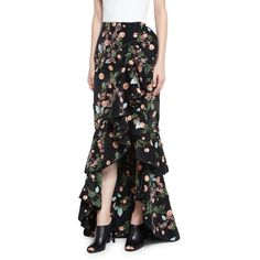 Johanna Ortiz Justina Floral Ruffled Maxi Skirt ($385) ❤ liked on Polyvore featuring skirts, floral print maxi skirt, hi low maxi skirt, a-line skirts, high low maxi skirt and high low skirt