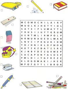 Sopa de letras: útiles escolares