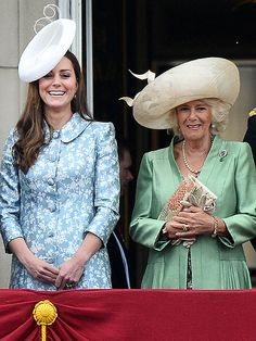 Kate's Back! The Best Photos from Trooping the Colour | Princess Kate and Camilla, Duchess of Cornwall | Princess Kate looks lovely in a Catherine Walker blue floral coat dress. The royal flashes a big smile as she takes in the pageantry of Trooping the Colour alongside Camilla, Duchess of Cornwall.