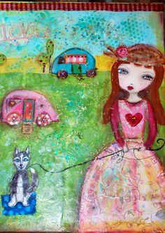 My gypsy girl.  Inspired by Suzi Blu. Mixed media