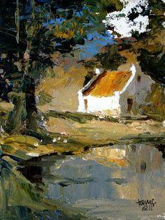 Landscape Artwork, Watercolor Landscape, Watercolor Art, Cottage Art, Building Art, Impressionist Paintings, Art For Art Sake, Beautiful Paintings, Art Photography