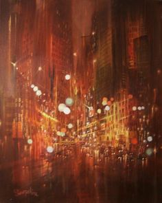 city lights by Tom Shropshire Acrylic ~ 20 x 16 New York Painting, Lets Run Away, Love Rain, Light Painting, City Lights, Beautiful Moments, Cool Art, Awesome Art, Great Photos