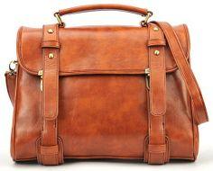 Brown Metal Buttons Zipper PU Leather Shoulder Bag