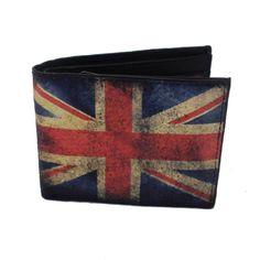 Men's Bi-Fold Genuine Black Leather Wallet Billfold British Flag Outside #YaaliLimited #Bifold