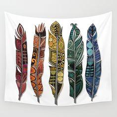 boho rainbow feathers Wall Tapestry
