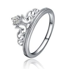 Silver Crown Ring Encrusted with AAA Simulated Diamonds
