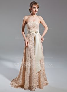 Mother of the Bride Dresses - $162.99 - A-Line/Princess Strapless Sweep Train Satin Lace Mother of the Bride Dress With Sash Crystal Brooch (008015102) http://jjshouse.com/A-Line-Princess-Strapless-Sweep-Train-Satin-Lace-Mother-Of-The-Bride-Dress-With-Sash-Crystal-Brooch-008015102-g15102