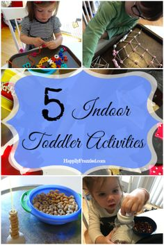 5 Indoor Activities to keep your toddler busy on a rainy day, while they work on their creativity and fine motor skills! HappilyFrazzled.com