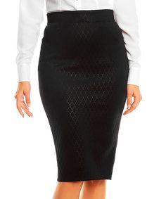 Look at this #zulilyfind! Black Perforated Pencil Skirt by Karen #zulilyfinds