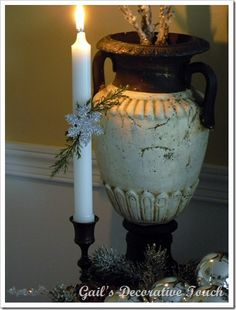Snowflake and greenery added to candle