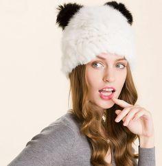 1 fur hat beret rabbit fur natural season by ArtHatsBoutique