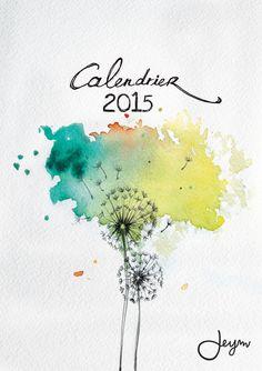 Calendrier A4 mural 2015 avec illustrations aquarelles originales - Prévente - : Calendriers par jeym Creation Homes, Fabric Garland, Watercolor Canvas, Calendar Ideas, Desk Calendars, Diy Desk, Bullet Journal, Illustrations, Etsy