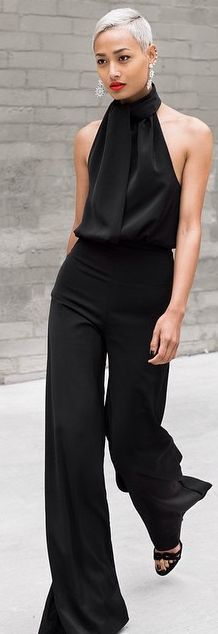 Street style for fall chic....Chic In The City~ Black Halter Cocktail Jumpsuit-