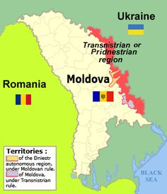 Transnistrian Territory in relation to Moldova, landlocked along the border with Ukraine