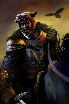 """Sandor Clegane by ~NickKalinin. """"'Aren't you afraid? The gods might send you down to some terrible hell for all the evil you've done.' 'What evil?' He laughed. 'What gods?...If there are gods, they made sheep so wolves could eat mutton, and they made the weak for the strong to play with.'"""""""