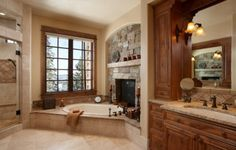 bathroom fireplace