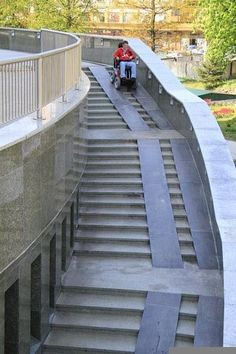 Way too steep and not everyone has a wheelchair with wheels that fit on those tracks. What about people that have trouble with stairs and use a walker. This wouldn't work at all for them.