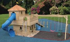 Cozy Retreat Castle Swingset | Outdoor Wood Castle Playset
