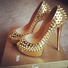 louboutin metallic gold spiked lady peeps #shoeporn - Want! Perfect for the holiday season! #christianlouboutingold