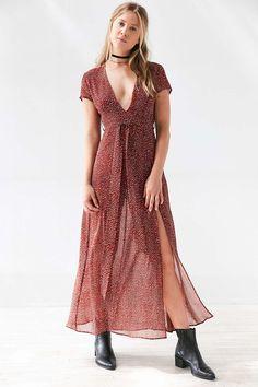 WYLDR Flawless Leopard Plunging Maxi Dress