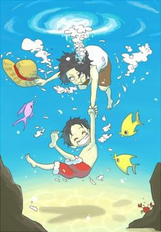 One Piece . underwater fun~ Luffy and Ace One Piece