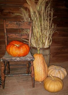 Autumn display of large variety of heirloom pumpkins.