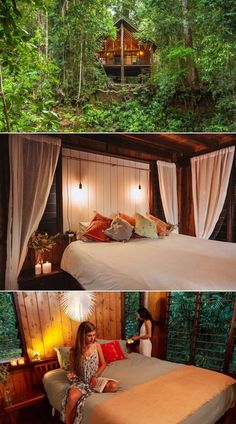 This riverfront treehouse accommodation harmoniously set in an ancient rainforest in Queensland, Australia provides a feeling of home and comfort in the wilderness. Branded under Canopy Treehouses, it is designed with large windows overlooking the green forest. Guests can hear the crashing sounds of tree branches as well as chirping birds while sitting or sleeping inside.