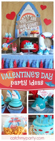 Check out this' Jaw-some' Valentine's Day Party! The cupcakes are so cute!!  See more party ideas and share yours at CatchMyParty.com #valentinesday #shark #valentine