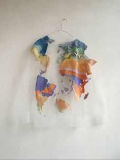 sweater clothes colorful planet see through bag clear map tumblr cute crewneck white t-shirt world map world
